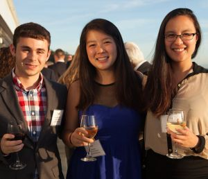 3 students at reception