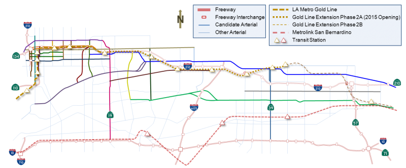 I-210 corridor in Los Angeles, site of the Connected Corridors ICM pilot, showing freeways, arterial streets, and rail transit