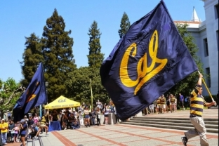 Student carrying Cal flag