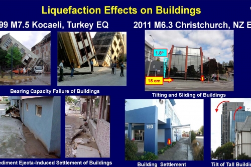 Liquefaction Effects on Buildings - slide from J. Bray's Ishihara lecture
