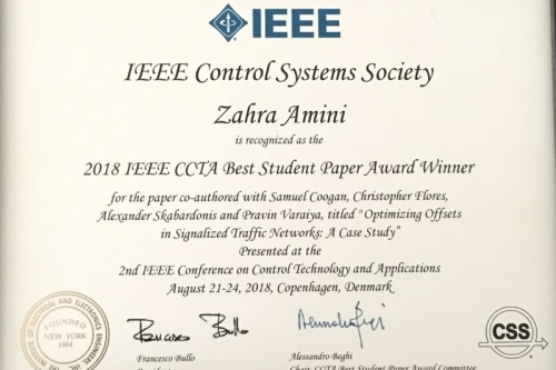 IEEE Best Student Paper Award for Dr. Zahra Amini