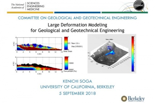 Initial slide from Prof. K. Soga's webinar on Large Deformation Modeling